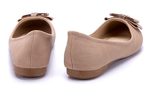 Schuhtempel24 Damen Schuhe Klassische Ballerinas Flach Zierschleife/Ziersteine Camel