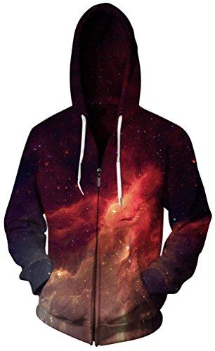 Gludear Unisex 3D Galaxy Zipper Hoodie Sweatshirt Fleece Pullover Hooded Shirts Pocket,Flame,S/M by Gludear