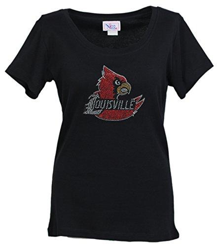 Nitro USA NCAA Louisville Cardinals Women's Jewel Neck Sleeved Top with Rhinestone UL Cardinal Wing, Black, Medium