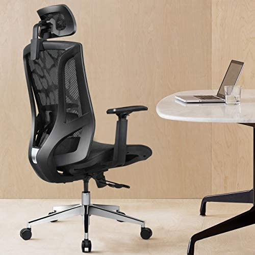 Ergonomic Office Chair High Back with Breathable Mesh and Sliding chassis 3D Adjustable Arm Rests Computer Chair Height Adjustable and Head Support 135 Tilt Tension – Black