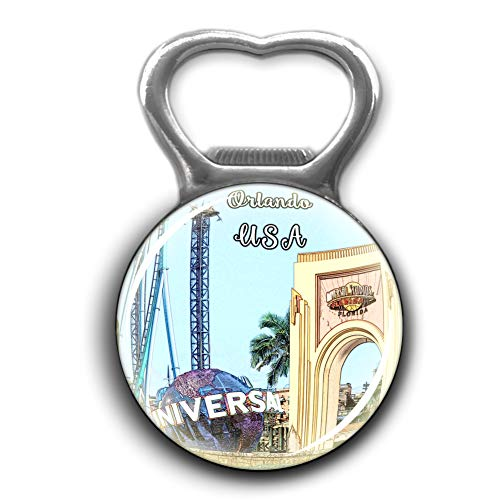 Universal Studios Florida Orlando America USA Bottle Opener Metal Fridge Magnet Crystal Glass Round Beer Bottle Opener City Souvenir Home Kitchen Decoration Gifts -