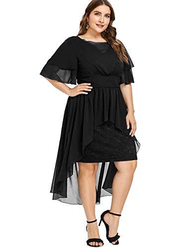 WISEFIN Women's Plus Size Flounce Sleeve Asymmetric Chiffon Lace Patchwork Cocktail Party Dress ()