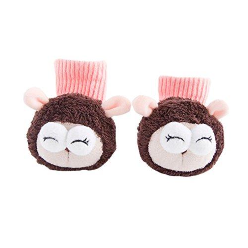 Convex Eye Sheep Socks Kids,Hongxin Baby Boys Girls Knitting Cotton Booties Slippers Rattle Toe Animal Socks