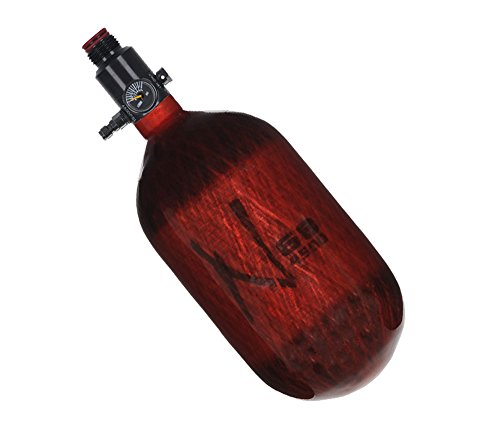 Ninja Paintball Compressed HPA Air Tank w/ Ultralite Regulator (ALL COLORS / SIZES) (68/4500 Carbon, Ultralite Reg, Translucent Red, (Carbon Fiber Compressed Air Tank)