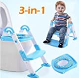 MD Group Potty Training Baby Toilet Chair 3 in 1 Portable Blue Non-slip with Step Ladder