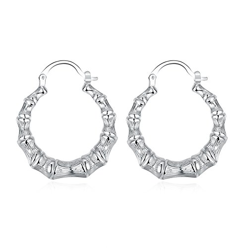 FOY-MALL Silver Plated Round Bamboo Hoop Earrings ED1163