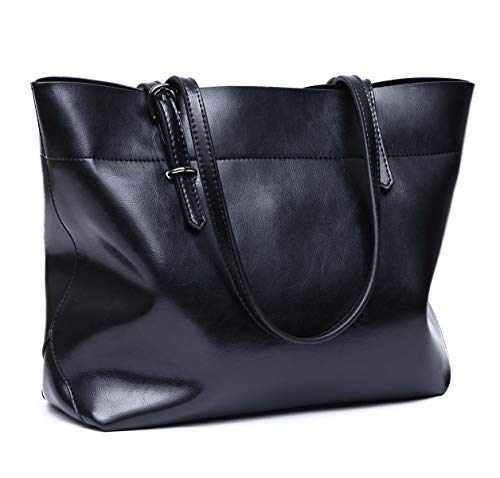 CHERRY CHICK Women's Genuine Waxed Leather Tote Bag Daily Purse (Black-605)
