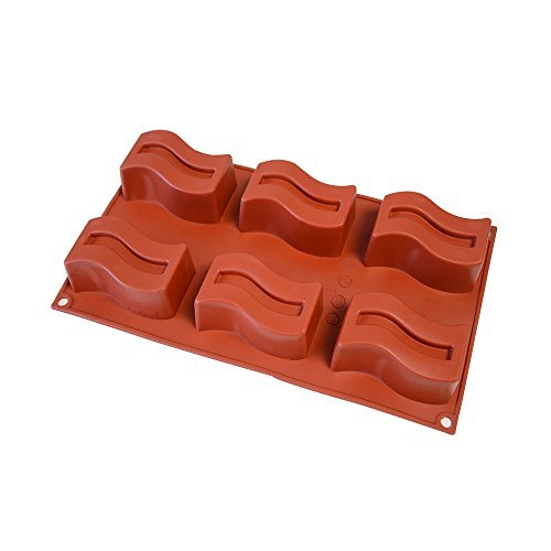 Wave Silicone (Let's dream with Silicone Cake Mold 6-Cavity Wave Cake Pan & Chocolate Mold Non-stick Silicone Baking Pan for Soap, Cookies, Jelly, Chocolate, Ice Cream, Muffin)