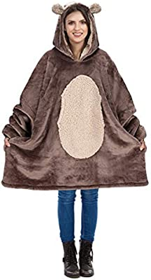 Catalonia Oversized Hoodie Blanket Sweatshirt,Super Soft Warm Comfortable Sherpa Giant Pullover with Large Front Pocket,for Adults Men Women Teenagers