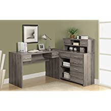 "Monarch Specialties Reclaimed-Look ""L"" Shaped Home Office Desk, Dark Taupe"