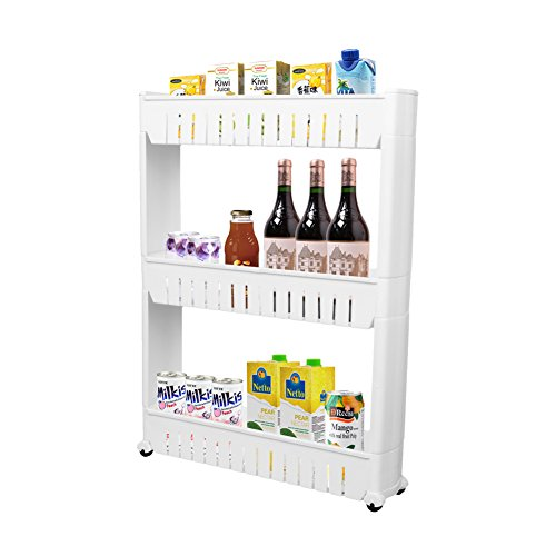 Storage Cabinet 3 Tier with 4 Wheels Slide out Storage Cabinet Rack Tower for Limited Space in Kitchen Bathroom Laundry Room by - Place Tower At Stores Water