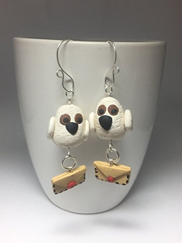 Air Snowy (Harry Potter Inspired Hedwig Snowy Owl Dangle Earrings Letter carrying Air Mail Jewelry Fantastic Beasts)