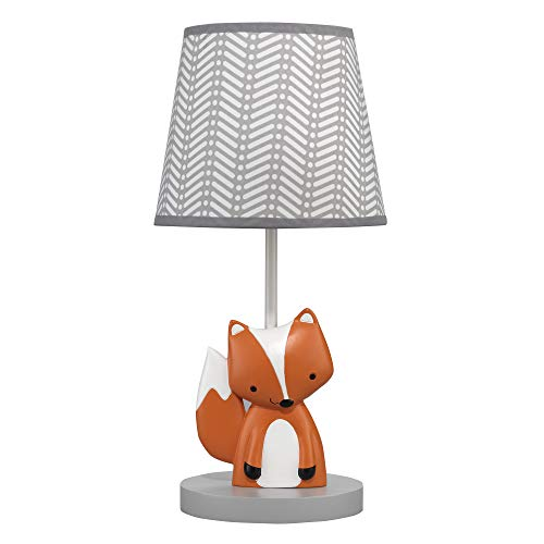 Bedtime Originals Acorn Gray/White/Orange Fox Nursery Lamp with Shade amp Bulb