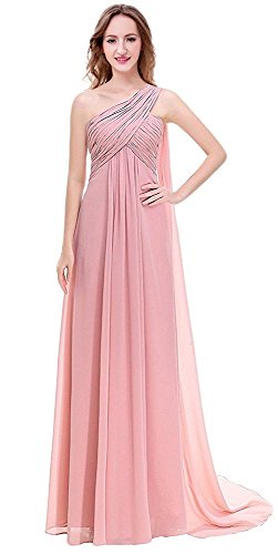 EDMOC Women's One Shoulder Padded Ruffles Chiffon Party Prom Bridesmaid Dress Size 6 Blush
