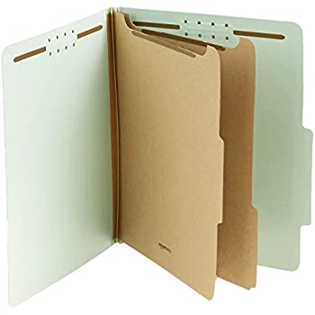 AmazonBasics Pressboard Classification File Folder with Fasteners, 2 Dividers, 2-Inch Expansion, Letter Size, Gray/Green, 10-Pack