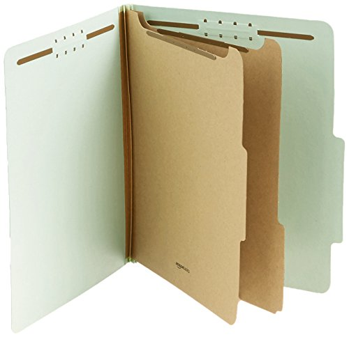AmazonBasics Pressboard Classification File Folder with Fasteners, 2 Dividers, 2-inch Expansion, Letter Size, Gray/Green, 10-Pack - Pressboard Classification Folders