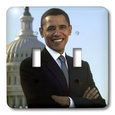 3dRose lsp_43733_2 Close Up Portrait Of Pres Obama Front Of Capital Double Toggle Switch
