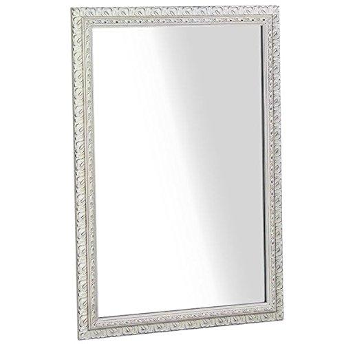 arne ウォールミラー 壁掛け 鏡 姿見 アンティーク ワイド 幅約70cm F-003WM6090 ホワイト B00QEY2GNU ホワイト ホワイト