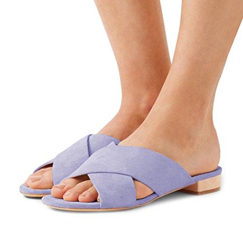 Fsj Femmes Casual Glissière Appartements Sandales Talon Bas Découper Ouvert Orteils Mules Faux Daim Chaussures Taille 4-15 Nous Lavande
