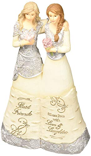 Pavilion Gift Company 6 Inch Collectible Elements Double Angel Figurine Best Friends Fill Our Lives with Love & Laughter, Beige ()