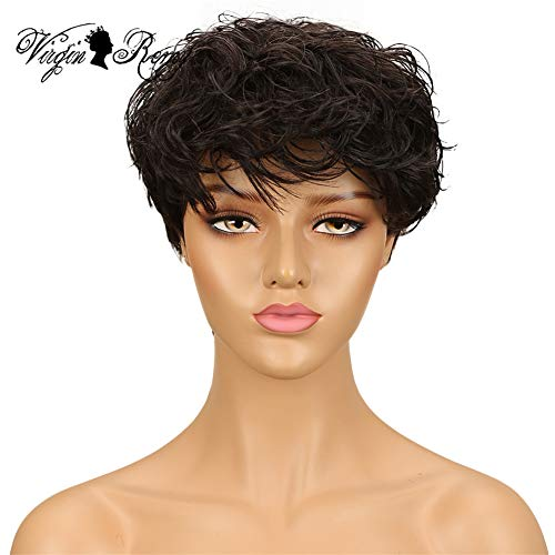 QVR Short Curly Pixie Wigs for Black Women Human Hair Natural Wave Bob Wigs with Bangs None Lace Wigs All Machine Made Fashion Wigs Color #2