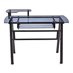 Black New Glass Top Computer Desk PC Laptop Table Workstation Metal Frame w/Printer Shelf