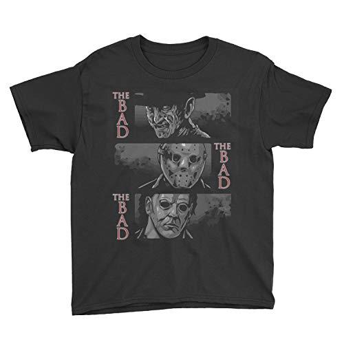 Poogky Kids The Bad, Michael Myers, Jason Voorhees, Freddy Krueger Horror Movie T-Shirt (L, Black) ()