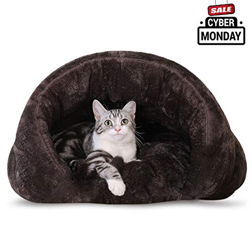 Make you perfect Plush Cat Sleep Bag Cat Cave Covered Hooded Dog Bed for Small Dogs Indoor Pet Triangle Nest for Kitties Dog Puppies(Coffee)