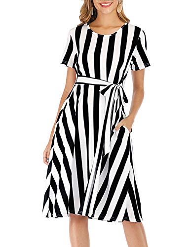 AKEWEI Women Engagement Dress Businness Casual Swing Plus Size Dresses Striped Black XL
