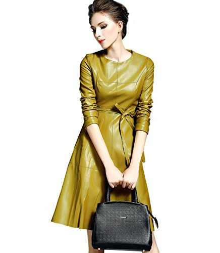 LAI MENG FIVE CATS Womens Faux Leather Fashion Midi Bodycon A-line Dress with Belted, Yellow, Large