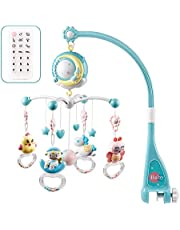 Jujudada Musical Mobile for Baby Crib with Remote Control Light Bell Rattle Decoration for Bed Toy Projector for Newborn Babies