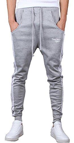 - Keybur Mens Jogging Pants Tracksuit Bottoms Running Trousers Hiphop Dance Jogger (L, Light Gray)
