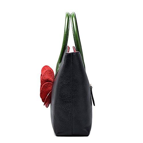 Jsix Blumen Schultasche Lehrertasche Umhängetasche Leder-Tasche Damen Henkeltaschen Schwarz 6SN6KDs4V