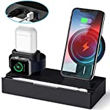 Wireless Charging Stand, CHGeek 8 in 1 Wireless Charger Station with 2 USB Ports Charging Dock Pad for Apple Watch Series 1/2/3/4, Airpods 1/2, Apple Pencil, iPhone Xs/X Max/XR/X/8/8Plus - Black