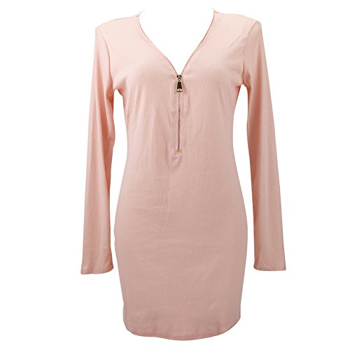 Zip Hiver Rose Robe Jardin Moulante Mini Rv Pull Slim V Col Longues Manches Femme AFqRa0