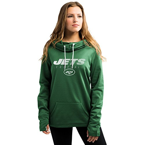 New York Jets Women's Majestic Speed Fly Cowl Neck Hoody (S)