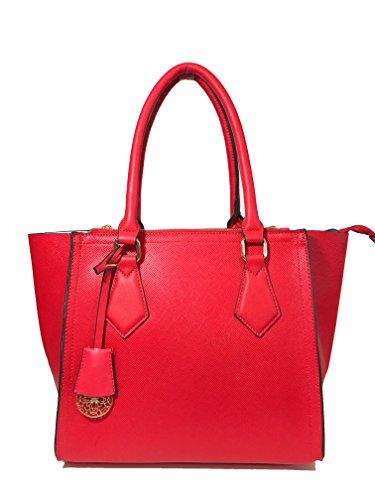 Ferrara Designer Handbags Tote Satchel Shoulder Bag Purse for Women (Apple Red Handbag)