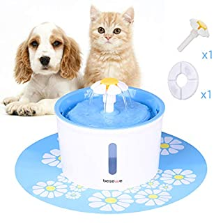 besewe Pets Fountain Water Dispenser Healthy and Hygienic Drinking Fountain Automatic Electric Water Bowl for Dogs Cats Birds Small Animals 1.6L with Window Super Quiet Pump