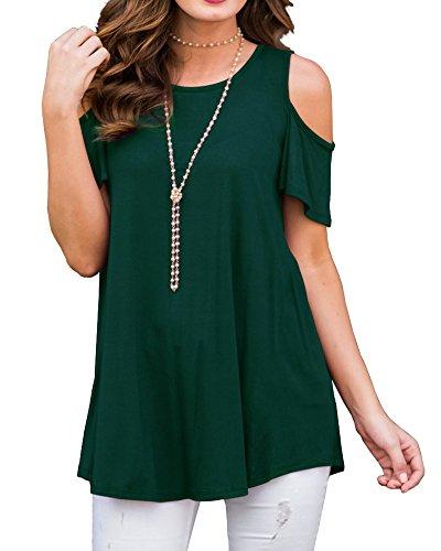 Tomwell Donna Camicia Moda Tinta Unita Girocollo Off Spalla Manica Corta Casual Elegante T-Shirt Bluse Tops Verde