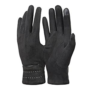 Womens Winter Gloves, Warm Soft Fleece Lined Suede Gloves, Touchscreen Texting by REDESS, Black Line