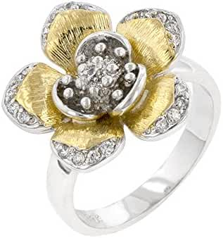 Rhodium Plated and 18k Gold Plated Cocktail Ring with a Floral Design and Round Cut CZ