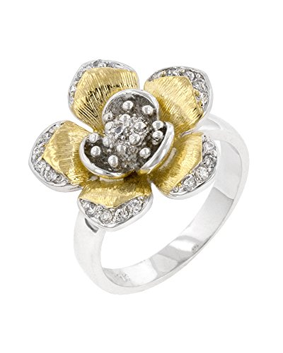 Rhodium Plated and 18k Gold Plated Cocktail Ring with a Floral Design and Round Cut CZ Size 5