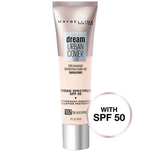 Maybelline New York Dream Urban Cover Flawless Coverage Protective Makeup, Liquid Foundation, Sunscreen, 1 fl. oz.