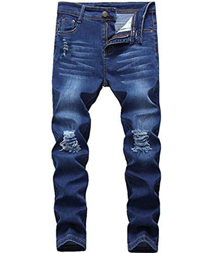 Boy's Fashion Skinny Fit Ripped Distressed Stretch Slim Denim Jeans with Holes 12