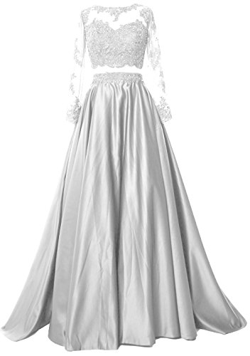 atin Formal Evening Gown Two Piece Long Sleeve Prom Dress (14, White) ()