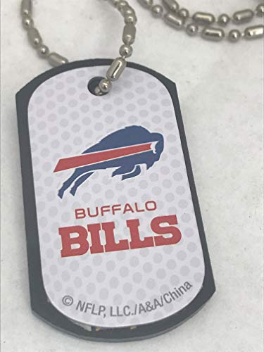 Mirror Mania Buffalo Bills NFL Football Dog Tag Chain Personalized Free Engraved Custom Name On Back - a Chain, Keychain, Luggage tag, or Clip on Backpack or Bag.