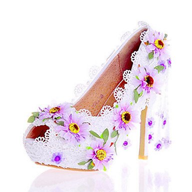 Applique UK6 Flower amp;Amp; EU39 Women'S Zormey Evening Uk8 5 Eu42 Heel Novelty Dress Us10 Walking Spring White Leather Wedding Party Fall Stiletto 5 Patent Summer US8 5 Heels 5 CN40 Comfort Cn43 awfwPxqTC