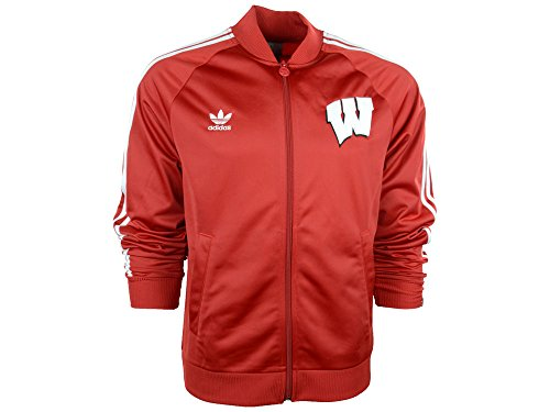 adidas Mens Legacy Track Jacket University of Wisconsin Red ()
