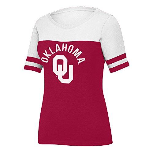 NCAA Oklahoma Sooners Women's Stadium Tee, X-Large, Cardinal/White