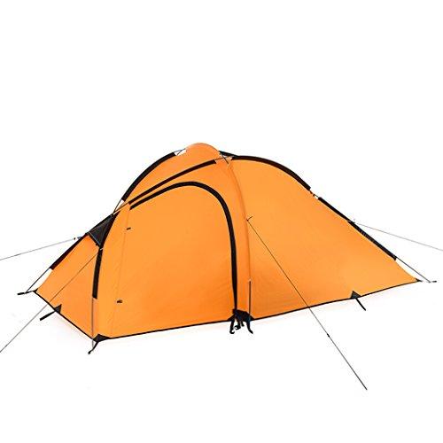 ぴかぴか粒子習熟度1ベッドルームテント屋外2-3人野生家族キャンプハイキング防水ダブルテント (色 : オレンジ)